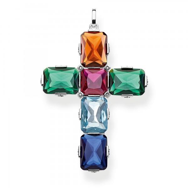 Anhänger Kreuz farbige Steine silber groß